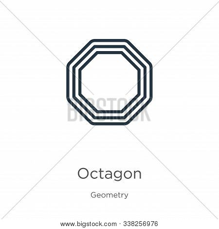 Octagon Icon. Thin Linear Octagon Outline Icon Isolated On White Background From Geometry Collection