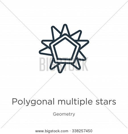 Polygonal Multiple Stars Icon. Thin Linear Polygonal Multiple Stars Outline Icon Isolated On White B
