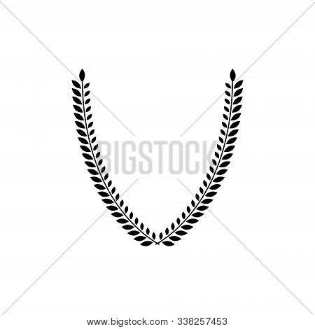 Laurel Wreath Floral Heraldic Element. Heraldic Coat Of Arms Decorative Logo Isolated Vector Illustr
