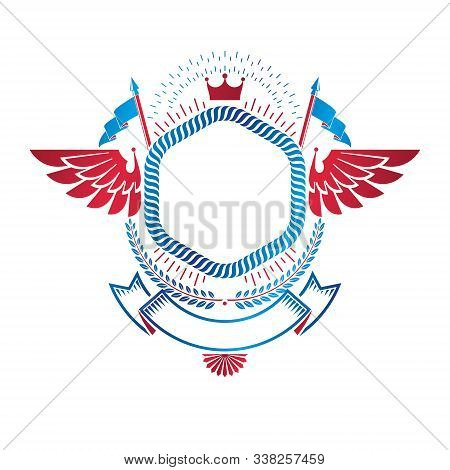 Graphic Winged Emblem Made With Imperial Crown, Elegant Ribbon And Flags. Heraldic Coat Of Arms, Vin