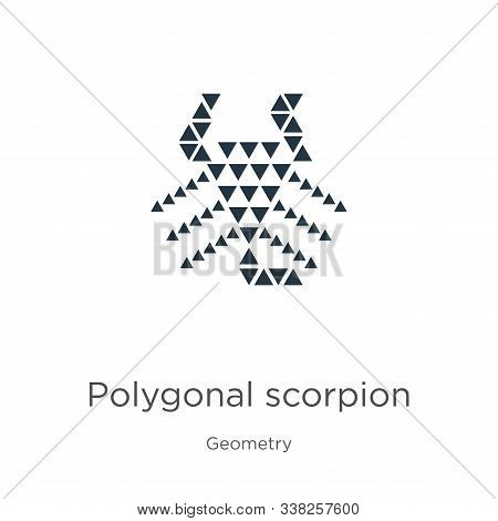 Polygonal Scorpion Icon. Thin Linear Polygonal Scorpion Outline Icon Isolated On White Background Fr