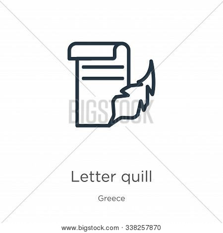 Letter Quill Icon. Thin Linear Letter Quill Outline Icon Isolated On White Background From Greece Co