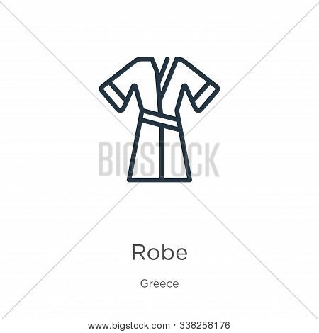 Robe Icon. Thin Linear Robe Outline Icon Isolated On White Background From Greece Collection. Line V