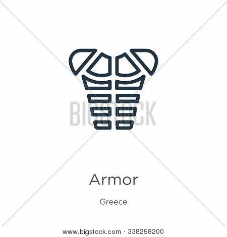 Armor Icon. Thin Linear Armor Outline Icon Isolated On White Background From Greece Collection. Line