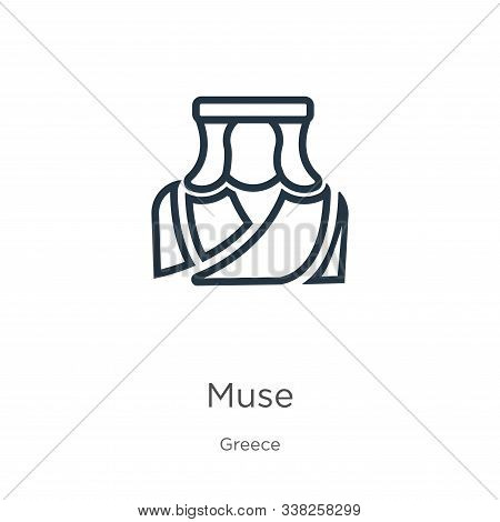 Muse Icon. Thin Linear Muse Outline Icon Isolated On White Background From Greece Collection. Line V