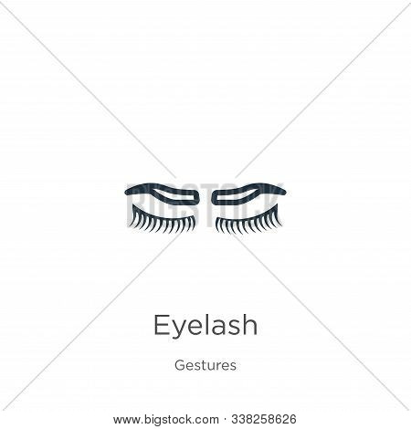Eyelash Icon. Thin Linear Eyelash Outline Icon Isolated On White Background From Gestures Collection
