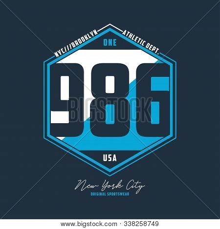Athletic Number T-shirt Design. Nyc, Brooklyn Typography Graphics For Sport Apparel. Vector Illustra