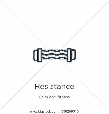 Resistance Icon. Thin Linear Resistance Outline Icon Isolated On White Background From Gym And Fitne