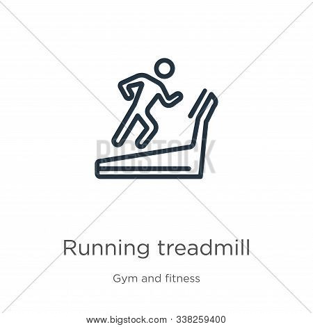 Running Treadmill Icon. Thin Linear Running Treadmill Outline Icon Isolated On White Background From