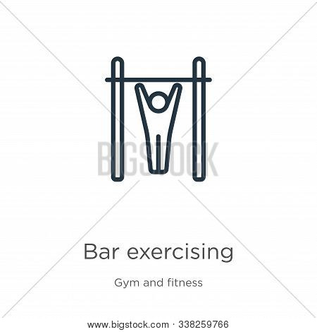Bar Exercising Icon. Thin Linear Bar Exercising Outline Icon Isolated On White Background From Gym A