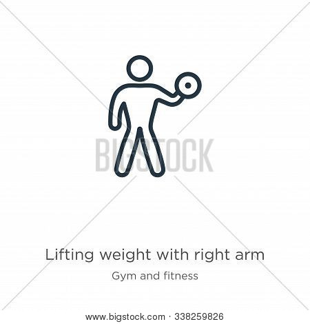 Lifting Weight With Right Arm Icon. Thin Linear Lifting Weight With Right Arm Outline Icon Isolated