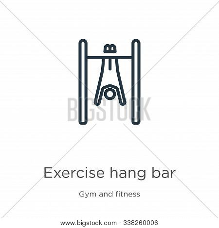 Exercise Hang Bar Icon. Thin Linear Exercise Hang Bar Outline Icon Isolated On White Background From