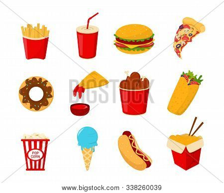 Fast Food Collection Vector Isolated. Set Of Junk Food