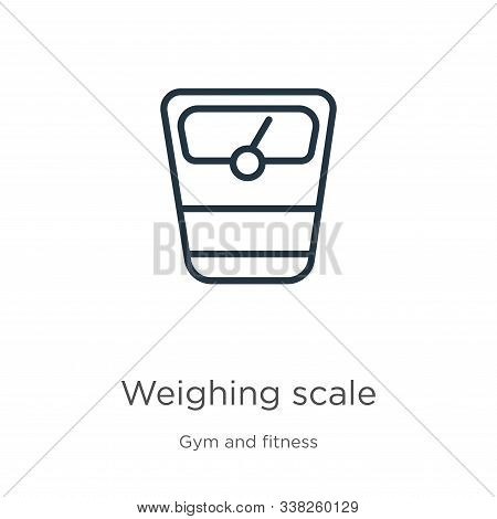 Weighing Scale Icon. Thin Linear Weighing Scale Outline Icon Isolated On White Background From Gym A