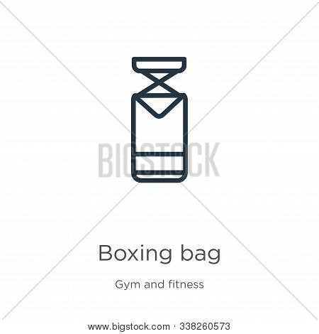 Boxing Bag Icon. Thin Linear Boxing Bag Outline Icon Isolated On White Background From Gym And Fitne