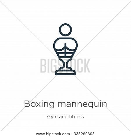 Boxing Mannequin Icon. Thin Linear Boxing Mannequin Outline Icon Isolated On White Background From G