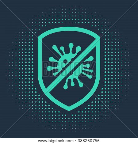Green Stop Virus, Bacteria, Germs And Microbe Icon Isolated On Blue Background. Antibacterial And An