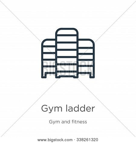 Gym Ladder Icon. Thin Linear Gym Ladder Outline Icon Isolated On White Background From Gym And Fitne
