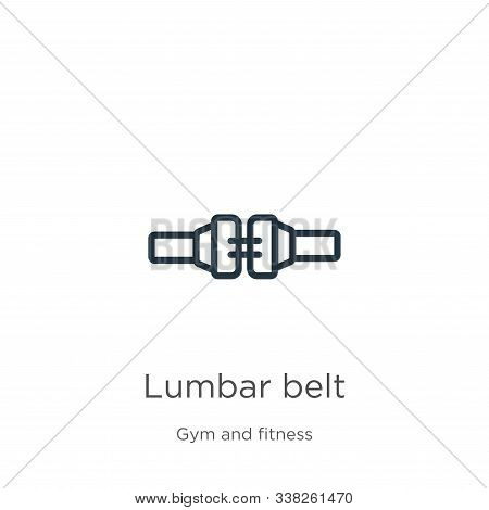 Lumbar Belt Icon. Thin Linear Lumbar Belt Outline Icon Isolated On White Background From Gym And Fit