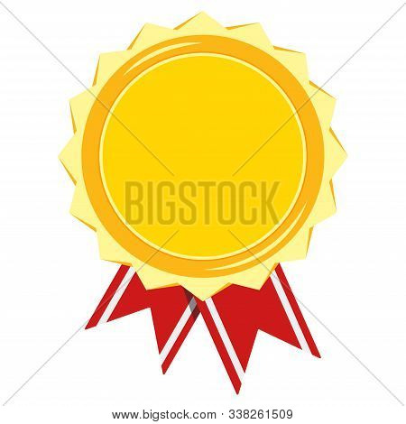 Golden Medal With Stripped Red Ribbon Isolated On White Background. Champion, Certificate, Diploma S