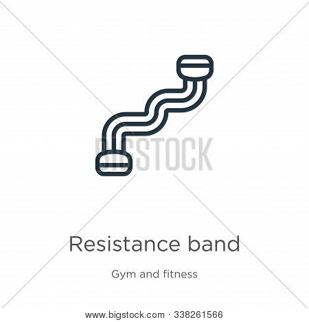Resistance Band Icon. Thin Linear Resistance Band Outline Icon Isolated On White Background From Gym