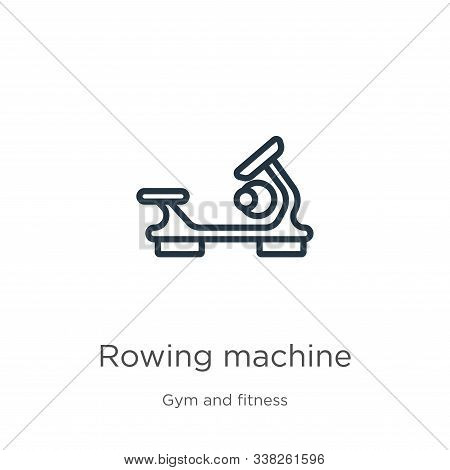 Rowing Machine Icon. Thin Linear Rowing Machine Outline Icon Isolated On White Background From Gym A