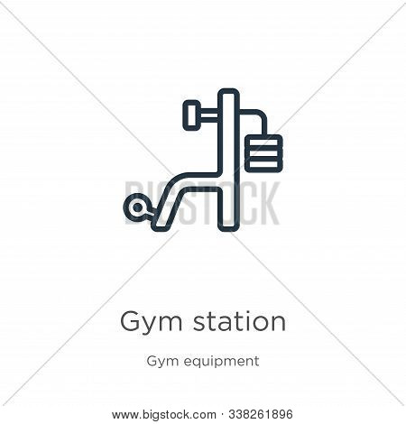 Gym Station Icon. Thin Linear Gym Station Outline Icon Isolated On White Background From Gym Equipme