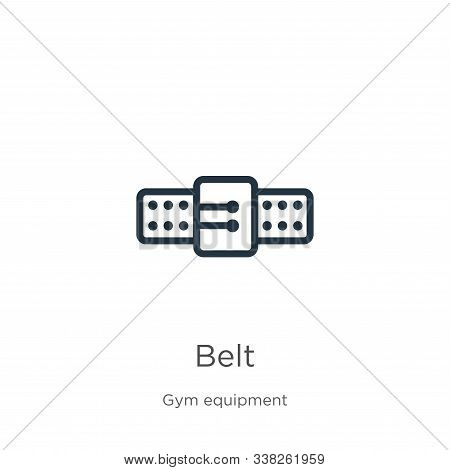Belt Icon. Thin Linear Belt Outline Icon Isolated On White Background From Gym Equipment Collection.
