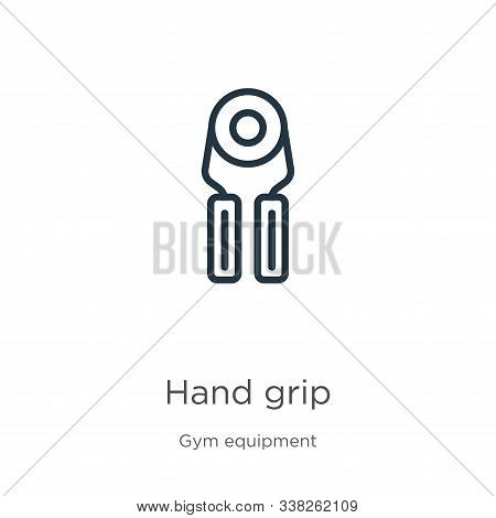 Hand Grip Icon. Thin Linear Hand Grip Outline Icon Isolated On White Background From Gym Equipment C