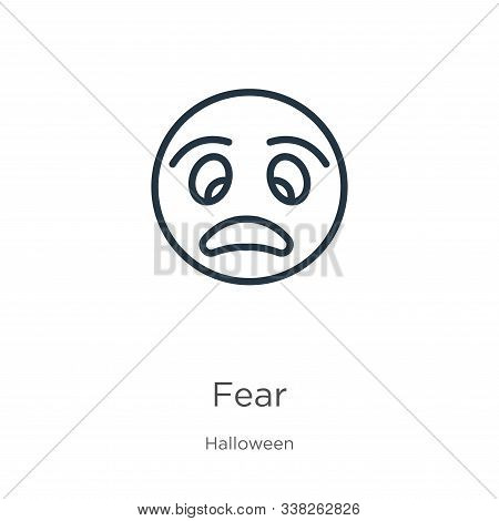 Fear Icon. Thin Linear Fear Outline Icon Isolated On White Background From Halloween Collection. Lin