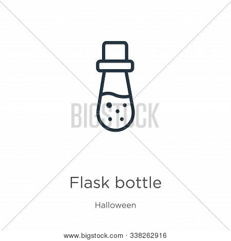 Flask Bottle Icon. Thin Linear Flask Bottle Outline Icon Isolated On White Background From Halloween