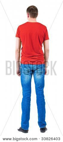 Back view of young men in  red t-shirt.  Guy  looks away. Rear view. Isolated over white background.