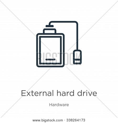 External Hard Drive Icon. Thin Linear External Hard Drive Outline Icon Isolated On White Background