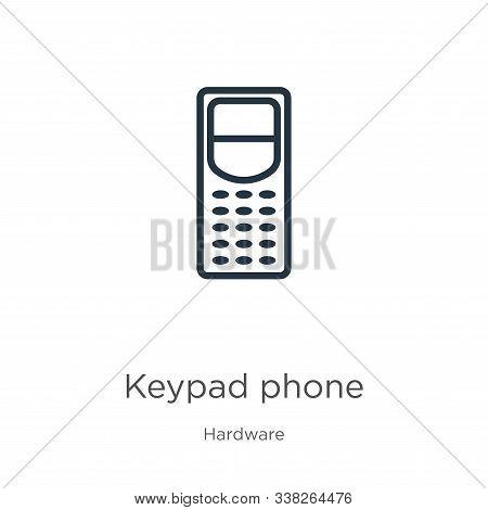 Keypad Phone Icon. Thin Linear Keypad Phone Outline Icon Isolated On White Background From Hardware