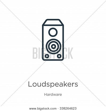 Loudspeakers Icon. Thin Linear Loudspeakers Outline Icon Isolated On White Background From Hardware
