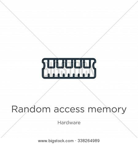 Random Access Memory Icon. Thin Linear Random Access Memory Outline Icon Isolated On White Backgroun