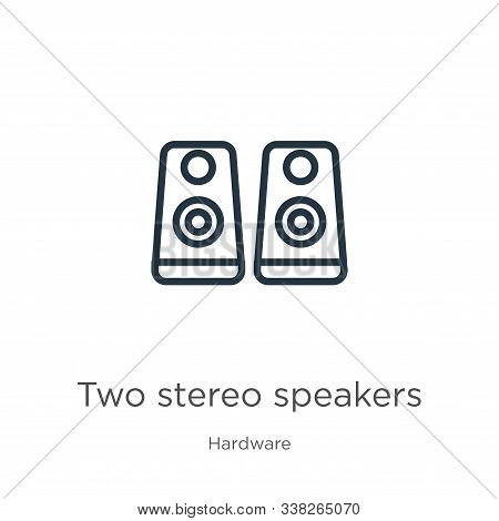 Two Stereo Speakers Icon. Thin Linear Two Stereo Speakers Outline Icon Isolated On White Background