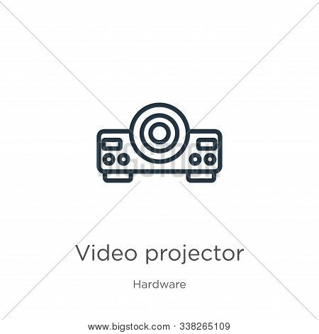 Video Projector Icon. Thin Linear Video Projector Outline Icon Isolated On White Background From Har