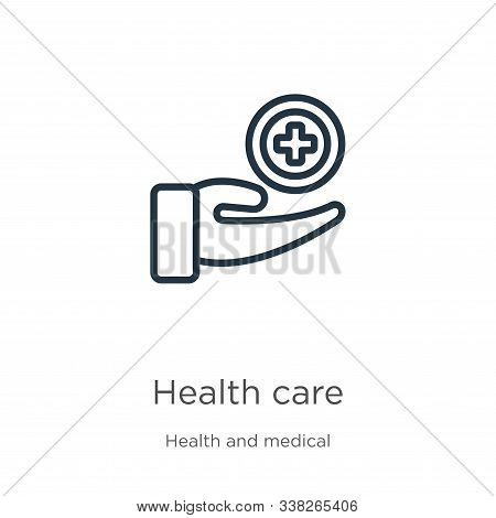 Health Care Icon. Thin Linear Health Care Outline Icon Isolated On White Background From Health And