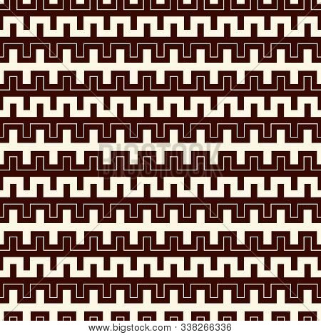 Outline Seamless Pattern With Battlement Curved Lines. Repeated Geometric Figures Wallpaper. Modern
