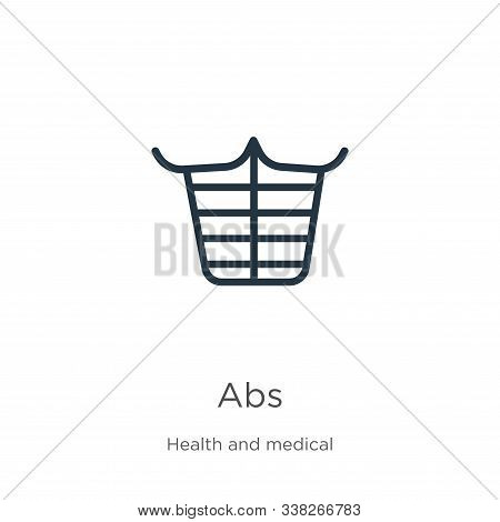 Abs Icon. Thin Linear Abs Outline Icon Isolated On White Background From Health Collection. Line Vec