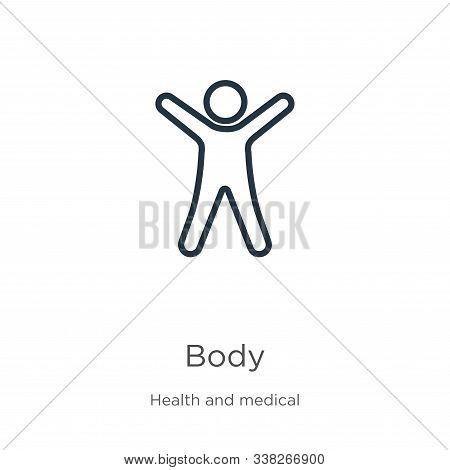 Body Icon. Thin Linear Body Outline Icon Isolated On White Background From Health Collection. Line V