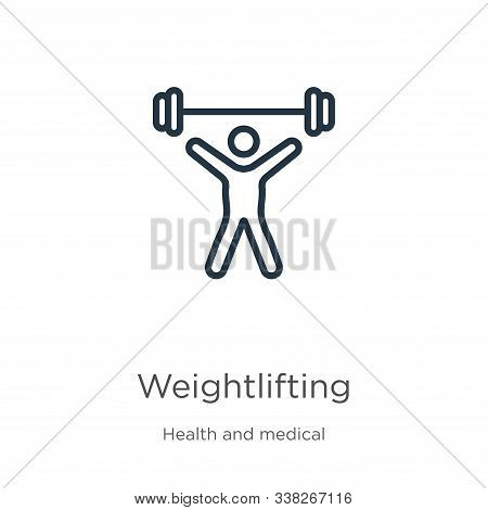 Weightlifting Icon. Thin Linear Weightlifting Outline Icon Isolated On White Background From Health