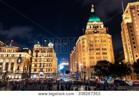 Shanghai, China - August 7, 2019: Busy Streets Of Shanghai With Modern And Traditional Architecture