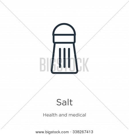 Salt Icon. Thin Linear Salt Outline Icon Isolated On White Background From Health Collection. Line V