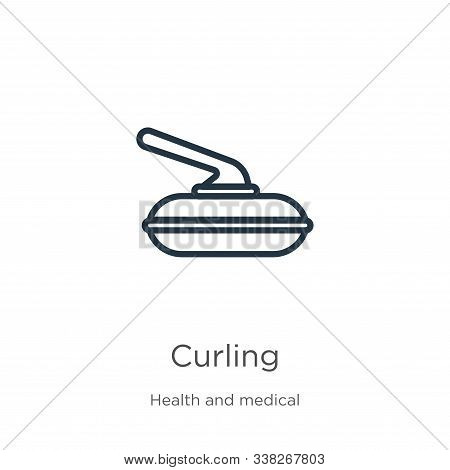 Curling Icon. Thin Linear Curling Outline Icon Isolated On White Background From Health Collection.