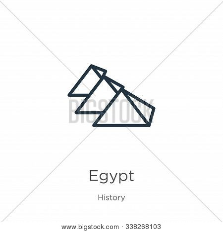 Egypt Icon. Thin Linear Egypt Outline Icon Isolated On White Background From History Collection. Lin
