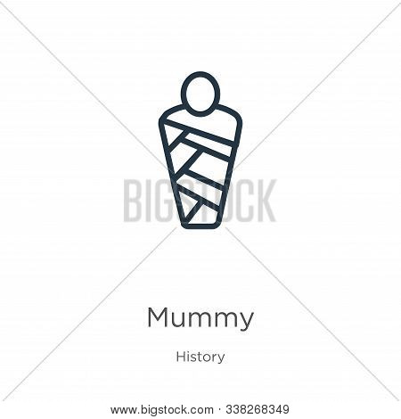 Mummy Icon. Thin Linear Mummy Outline Icon Isolated On White Background From History Collection. Lin