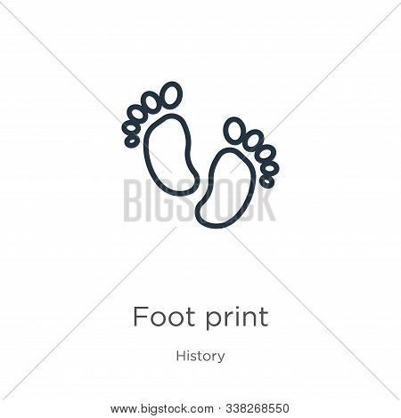 Foot Print Icon. Thin Linear Foot Print Outline Icon Isolated On White Background From History Colle