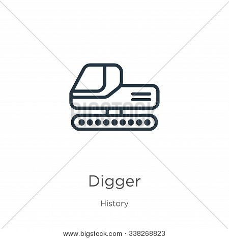 Digger Icon. Thin Linear Digger Outline Icon Isolated On White Background From History Collection. L
